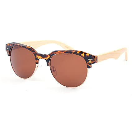 Zgsjbmh Gafas de Sol de bambú polarizadas semirreflejo Semi ...