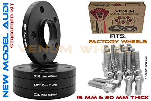 4pc Staggered Wheel Spacers 5x112 Audi 15 MM & 20 MM Thick 66.56 Hub Centric + Chrome Ball Seat Bolts 09-2019 A4 A5 A6 A7 A8 All Road S4 S5 S6 S7 RS5 RS7 Q5 SQ5 W/Factory Wheels