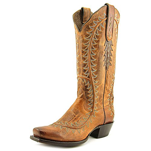 Nocona Western Boots Womens Half Moon Square Toe 9 B Crazy Tan NL5030 (Nocona Leather Jeans)