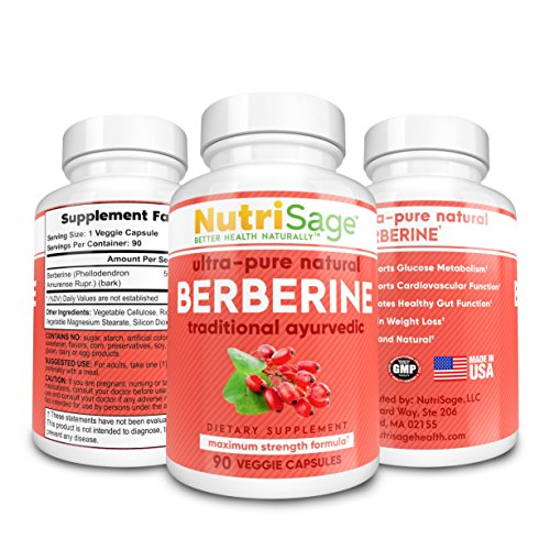 NutriSage Berberine 500mg 90 Veggie Capsules | Potent Dietary Supplement for Men & Women | Boost Heart Health & Immune System, Supports Healthy Blood Sugar Levels, Promotes Weight Loss ()