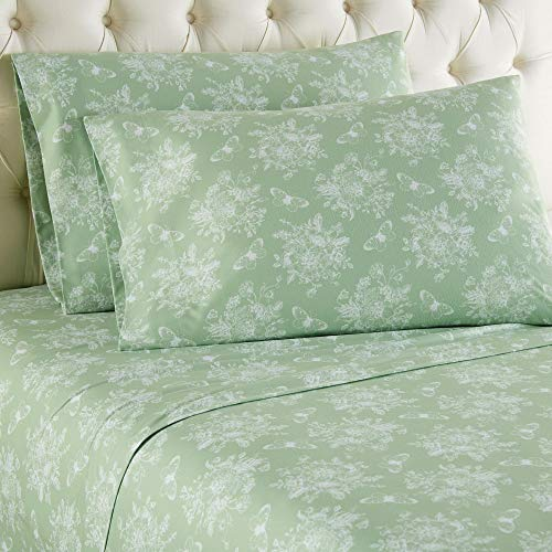 (Micro Flannel Shavel Durable & Luxurious Printed Sheet Set Full, Flat/Fitted Sheet 86x100/75x54x16; 2-Piece Pillowcase 21x32 - Toile Celadon.)