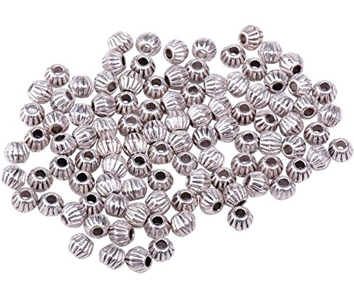 Pandahall 100pcs Antique Silver Tibetan Style Bicone Spacer Beads Metal Beads for Bracelet Making (Silver Metal Spacer Beads)