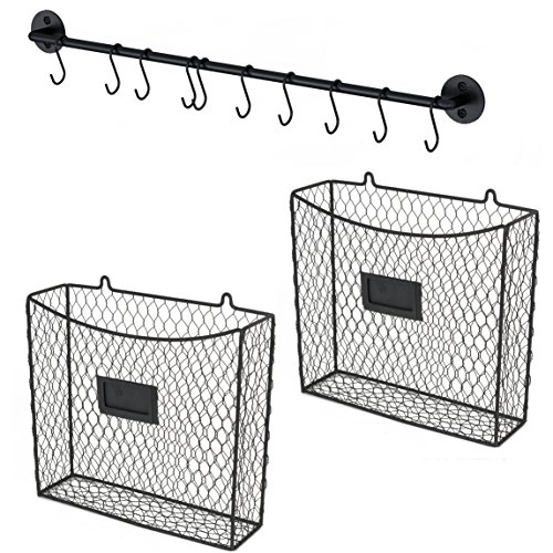 Wall File Holder Multi Purpose Wall Mount Hanging Folder Mail Organizer with Rail 2 Wire Baskets Hooks Chicken Cage Rustic  Industrial Style Black