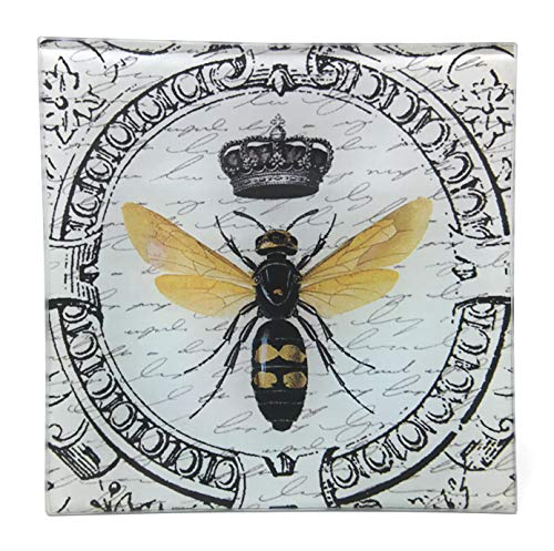 Value Arts Imperial French Honey Bee Glass Decor Dish Tray,\Square, Coin Soap
