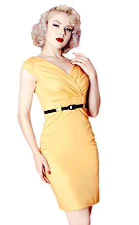 036459b043 Criss Cross Bright Mustard Yellow Fitted Dress Vintage Style Secretary Women  (Small)