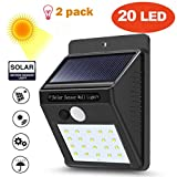 Fineser LED Solar Lights,20 LED Outdoor Solar Wall Light with Motion Sensor Detector for Garden Fence Deck Yard Driveway Walkways Landscaping Security(2Pack)