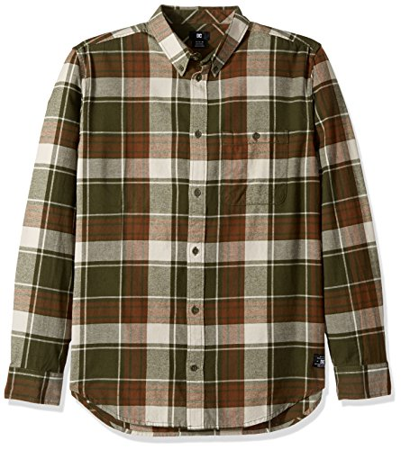 DC Men's South Ferry Long Sleeve Flannel Shirt, Vintage Green, (Vintage Ferry)