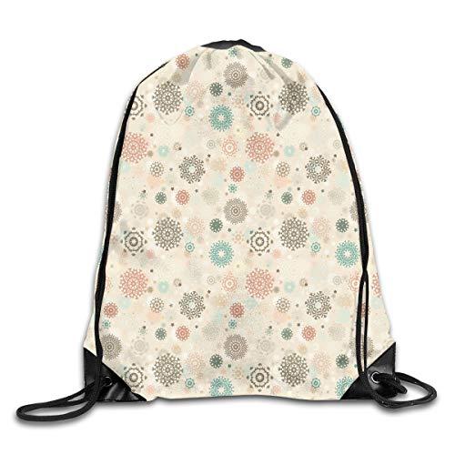 Drawstring Backpacks Bags,Retro Style Christmas Pattern With Various Gentle Snowflake Motifs Vintage Pastel,5 Liter Capacity,Adjustable