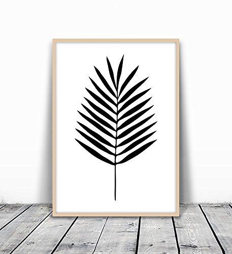 Palm Leaf Art, Palm Leaf Print, Black and White Palm, Palm Leaf Art, Tropical Decor, Tropical Art, Tropical Leaf Print, Minimalist Leaf Art, Palm leaf Art, Black Palm, Tropical Art Print, (Matte Black Leaf)