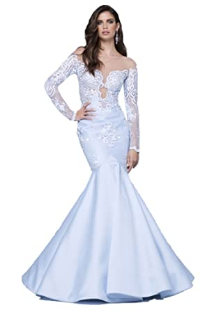 Kelaixiang Long Sleeve Mermaid Evening Formal Dress Lace Prom Dress See Through White US 2