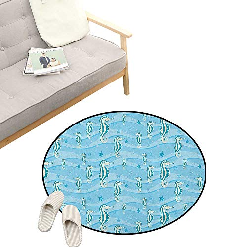 (Aqua Round Rug ,Cartoon Style Abstract Waves Underwater Life Theme Sea Horse Starfishes, Flannel Microfiber Non-Slip Soft Absorbent 47