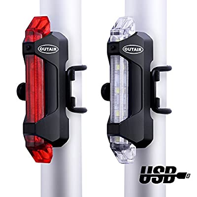 Outair USB Rechargeable Bicycle Light Front and Tail Set 5 LEDs 4 Modes Head Back Bike Flashing Safety Warning Lamp (Red&White)