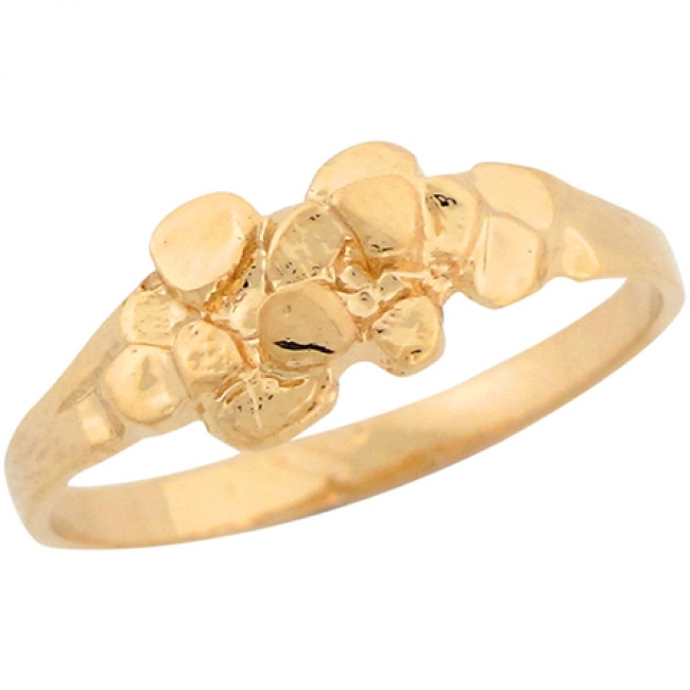 14k Real Yellow Gold Small Dainty Nugget Cute Ladies Ring