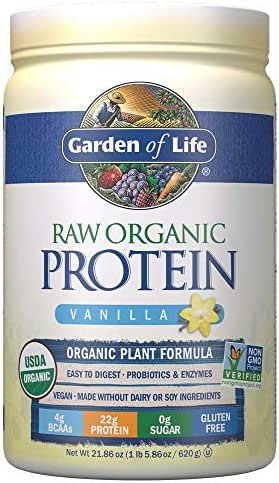 Garden of Life Raw Organic Protein Vanilla Powder, 20 Servings *Packaging May Vary* Certified Vegan, Gluten Free, Organic, Non-GMO, Plant Based Sugar Free Protein Shake with Probiotics & Enzymes