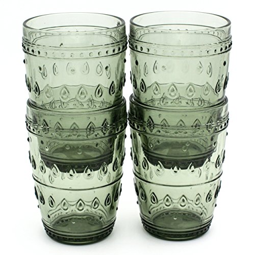 Euro Ceramica Fez Glassware Collection Highball Glasses, 14oz, Set of 4, Gray Review