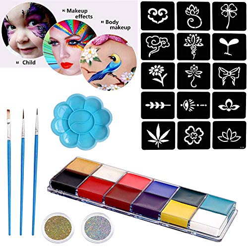 COKOAHPPY Professional Face & Body Paint Kit - 12 Vivid Color Paints (oil-based), 15 Stencils, 3 Brushes, 2 Boxes Laser Gold & Silver Chunky Glitter, 1 Palette