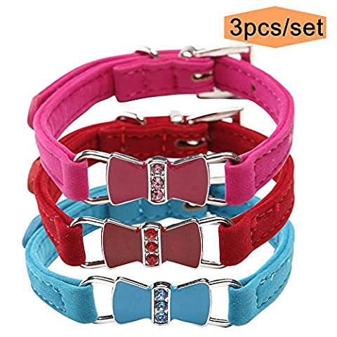 3 Pack Bow Tie Cat Collar for Small Dogs Velvet Rhinestones Charm - Lighted Cat Collars