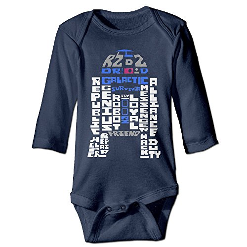 Wars Star Outfit Sexy (Kids Star Wars C 3PO R2 D2 Typography Wall Long-sleeve Romper Jumpsuit)