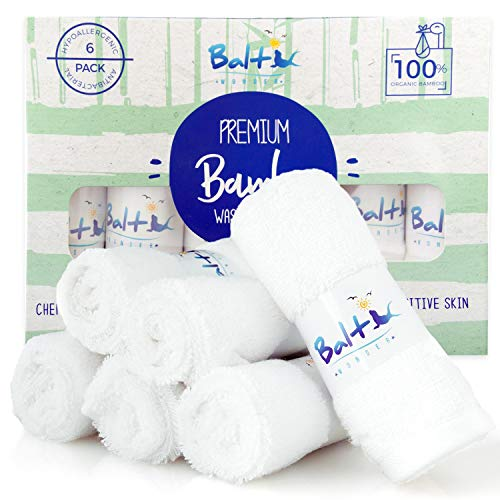 Bamboo Baby Washcloths Organic - Perfect for Face Towels, Hands, Sensitive Skin and Newborn - Natural Reusable Wipes with A Soft Cotton Blend and Ultra Absorbent - Ideal Baby Shower Gift.