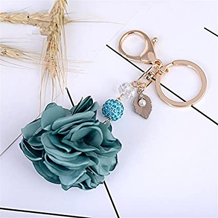 Amazon.com : Cloth Flower Keychain Charm Pendant Handbag Bag ...