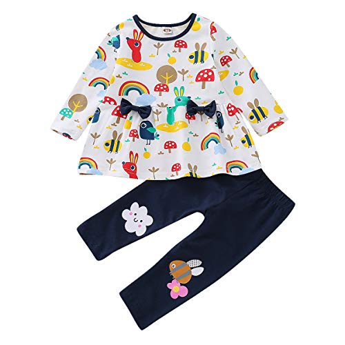 Toddler Baby Girls Cute Animal Print Shirt Dress Tops Leggings Pants Outfits ()