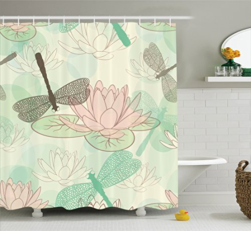 Dragonfly Lilies Water - Ambesonne Country Decor Collection, Floating Water Lily and Dragonfly Figures on the Lake in Mild Soft Color Designed Print, Polyester Fabric Bathroom Shower Curtain Set with Hooks, Pink Green