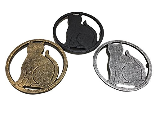 Bookshelf Pot Rack Brass (3 pieces Black Cat, Gold Cat, Silver Cat, Metal Trivet with Feet for Kitchen or Dining Table - Cast Iron - 5.6-Inches Across - More than One Makes a Set for Countertop - Popular Cat Lover Gifts)