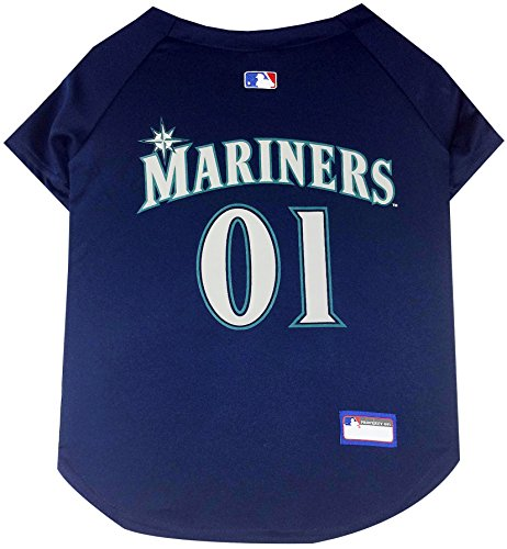 MLB Seattle Mariners Dog Jersey, Small. - Pro Team Color Baseball Outfit