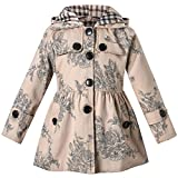 Long Sleeves Vintage Floral Print Chino Cotton Hooded Hoodie Trench Coat Outerwear Windbreaker for Little Girls & Big Girls, Flower Khaki, 7-8 Years=Tag 140