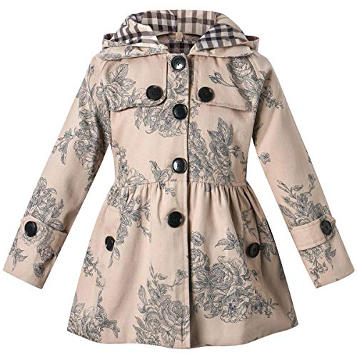 Long Sleeves Vintage Floral Print Chino Cotton Hooded Hoodie Trench Coat Outerwear Windbreaker for Little Girls & Big Girls, A-Flower Khaki, 10-11 Years=Tag 160