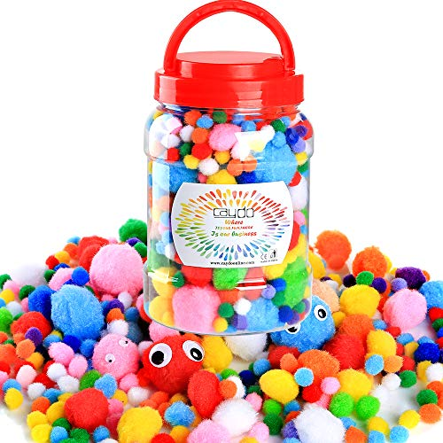 Caydo 1400 Pieces 4 Sizes Multicolor Pom Poms Assorted Pompoms and 1 Piece 1150ml Bucket with 4 Sizes Wiggle Googly Eyes for DIY, Crafts and Decorations
