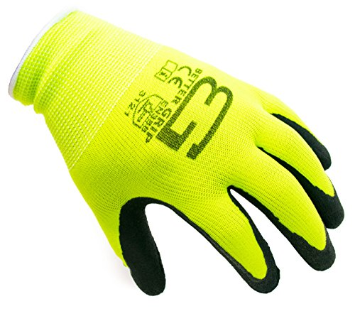 Better Grip BGFL1-9L Polyester Foam Latex Coated Work Gloves, 4 Pairs / Pack (Large, Fluorescent...