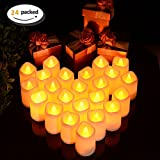 Litake LED Candles, Tea Lights 24 Realistic Flickering Flameless Candles Warm White Battery Powered Electric Fake Light for Weddings, Birthday, Festivals, Halloween, Home, Dinner, Party, Decora