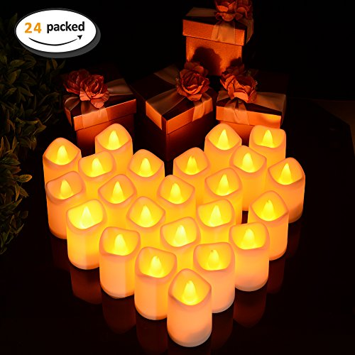Replace Battery Led (Litake Flameless LED Tea Light Candles, Pack of 24, Battery Powered Flickering Fake Candles, Unscented Tealights, Realistic Tealight Candles in Warm White)