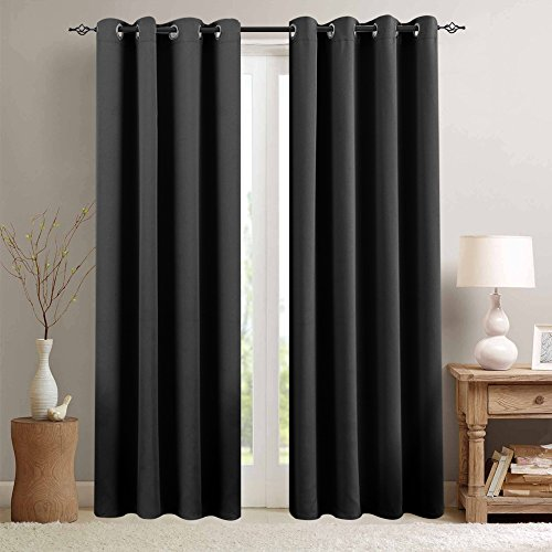 Blackout Curtains for Living Room 84 inches Length Bedroom Light Blocking Window Curtains Triple Weave Room Darkening Curtain Panels Thermal Insulated Grommet Top Drapes, Black
