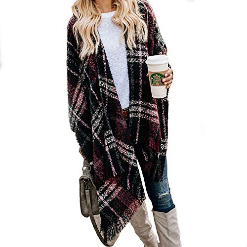 Womans Elegant Cape Shawl Wrap Poncho Cable Knit Sweater Plus Size Cape Knitted Jumper Dressy Sweaters Plaid WR Unisize WineRed