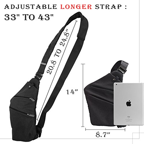 Voilamart Sling Bag Shoulder Chest Crossbody Backpack Multipurpose Anti Theft Lightweight Daypack Up To 7.9 Inch Tablet iPad Mini for Casual Outdoor Sport Travel for Men Women