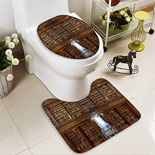 Analisahome Soft Toilet Rug 2 Pieces Set a wonderful library of old books menendez pelayo in santander spain Machine-Washable by Analisahome
