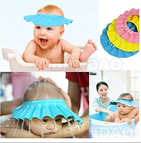 Safe Shampoo Shower Bathing Protect Soft Cap for Baby Children Kids (Blue)