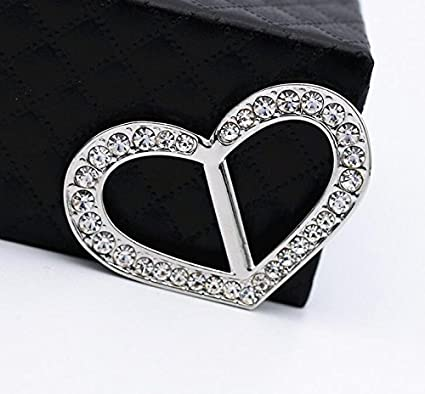 Luxury Fashionable Love Heart Rhinestone Metal Scarves Buckle Silk Sarf Clasp Clips Clothing Neckerchief Ring Wrap Holder for Women Girls Xmas Gift Rose Gold