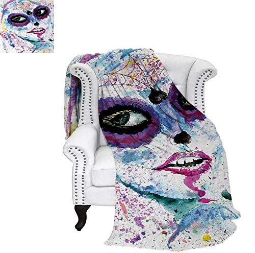 Digital Printing Blanket Grunge Halloween Lady with Sugar Skull Make Up Creepy Dead Face Gothic Woman Artsy Summer Quilt Comforter 90