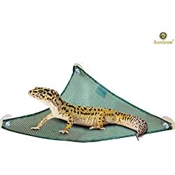 "SunGrow Reptile Mesh Hammock Reduces Stress Level of Lizards and Chameleon - 14.5"" Long Outlet for Interesting Activities for Pythons and Tortoise - Sturdy Design - 3 Suction Cups Included"