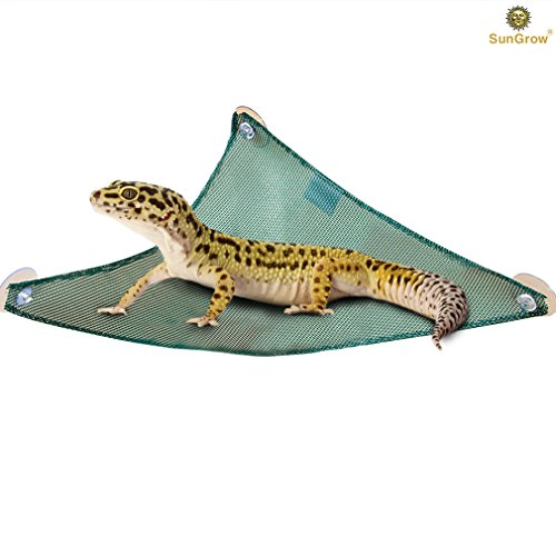 "SunGrow Reptile Mesh Hammock by Reduces Stress level of Lizards and Chameleon - 14.5"" long outlet for interesting activities for pythons and tortoise - Sturdy design - 3 Suction cups included Lizard Supplies"
