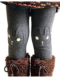 Kid Girl Fall Winter Cute Warm Thick Rabbit Printed Fleece Legging Pant