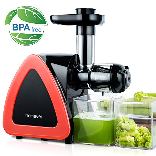 Juicer Machines, Homever Slow Masticating Juicer for Fruits and Vegetables, Quiet Motor, Reverse Function, Easy to Clean Hight Nutrient Cold Press Juicer Machine with Juice Cup & Brush, BPA-Free (Best Small Juicer Machine)