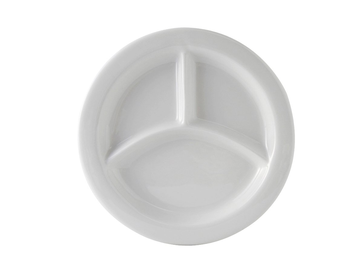 Tuxton BPA-0903 Vitrified China Healthcare 3 Compartment Plate, 9'', Porcelain White (Pack of 12), Oven-Microwave-Pressure Cooker Safe; Freezer to Oven Safe