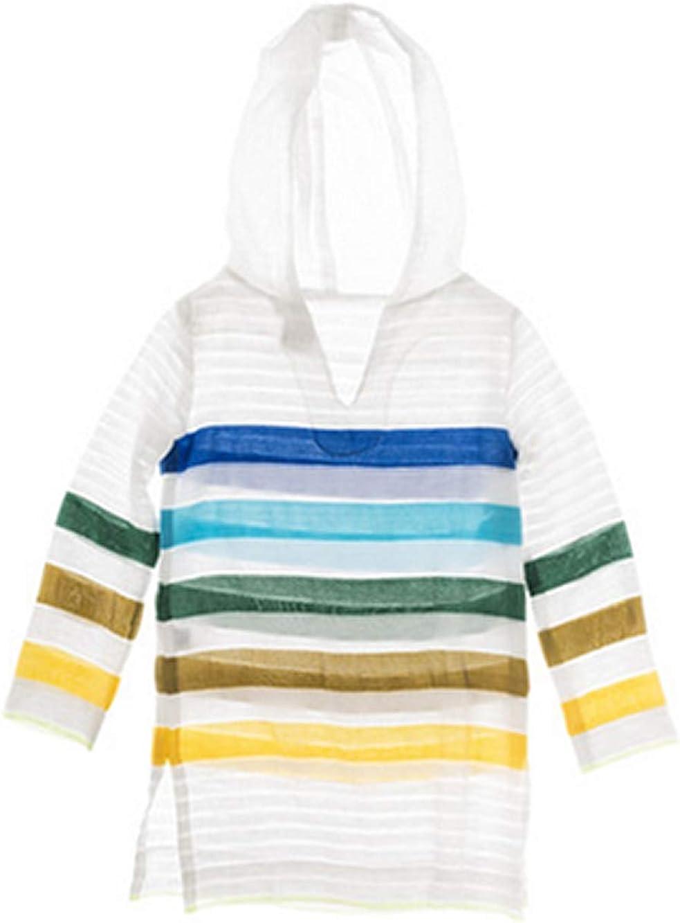 Lemlem Striped Beach Cover-Up V-Neck Gola Hoodie