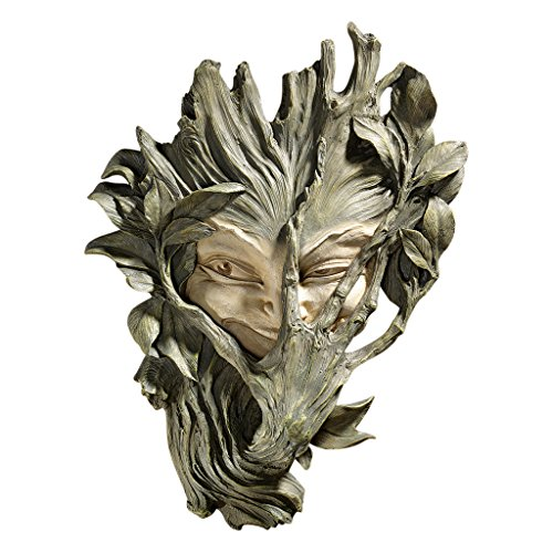 (Design Toscano Bashful Wood Sprite Tree Face Mystic Decor Wall Sculpture, 13 Inch, Polyresin, Two Tone Stone)