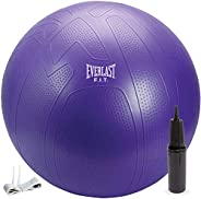 Everlast FIT Pro Grip Fitness Ball – Burst-Resistant, Anti-Slip, Pump Included, Great for Balance, Home Workou