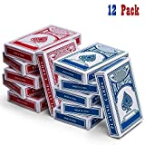 Kidsco 12-Decks Playing Cards - Blue and Red Printed Box Individual Packing for Party Favors,, Boys, Girls and Adults Texas, Blackjack and More